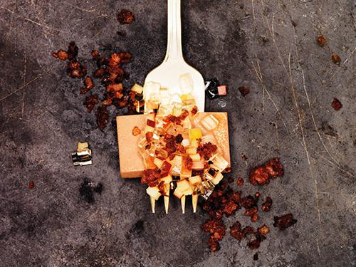 bild av Gåslever med rostat isterbandsströssel äpple & sauternegelé