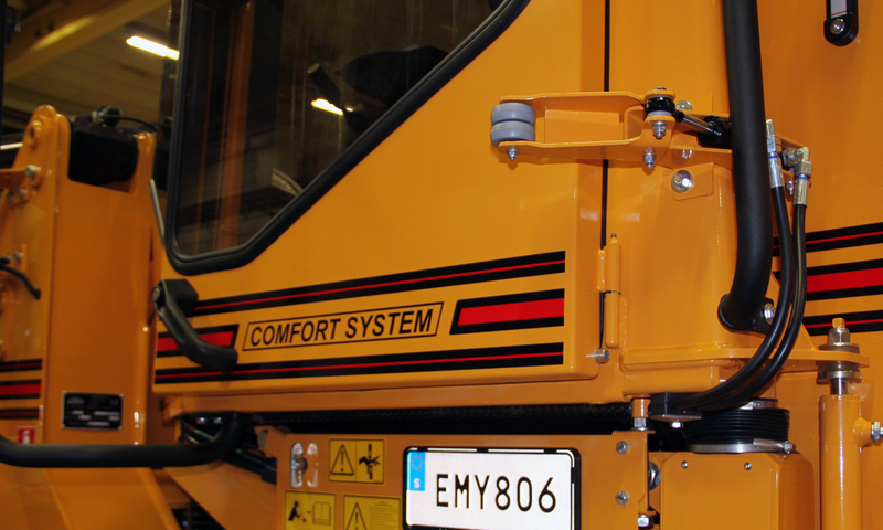 The system is hydraulically controlled either from the driver's seat or on the exit door at the bottom corner.