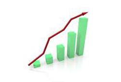 Bar charts showing increasing sales.